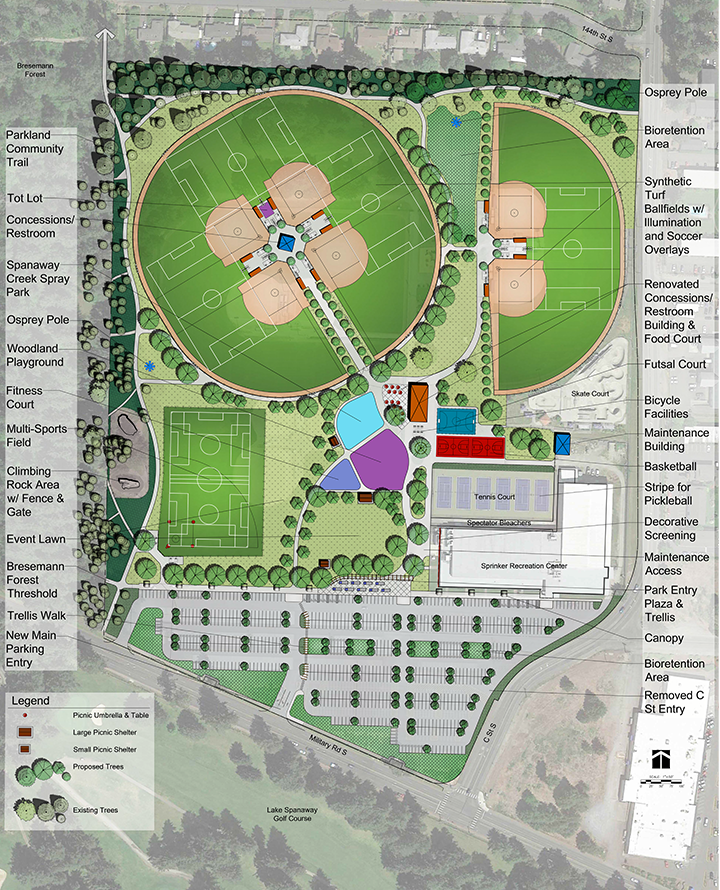 Design drawing of Option A for the Sprinker Recreation Center outdoor improvements project. Option A includes an extra playfield and an entryway closer to the indoor recreation center.