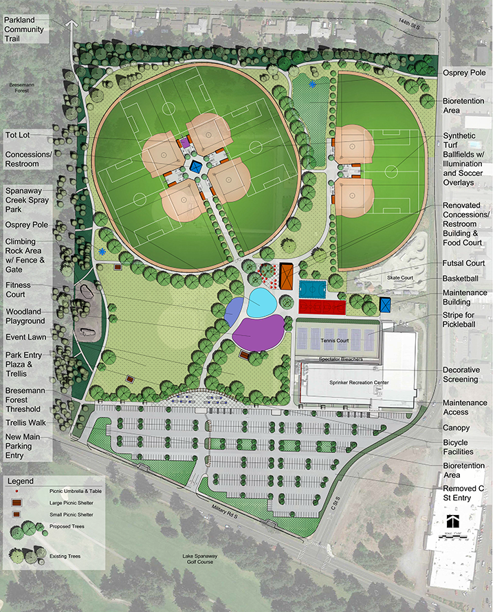 Design drawing of Option B for the Sprinker Recreation Center outdoor improvements project. Option B includes more open lawn space and an entryway more centered on the site.
