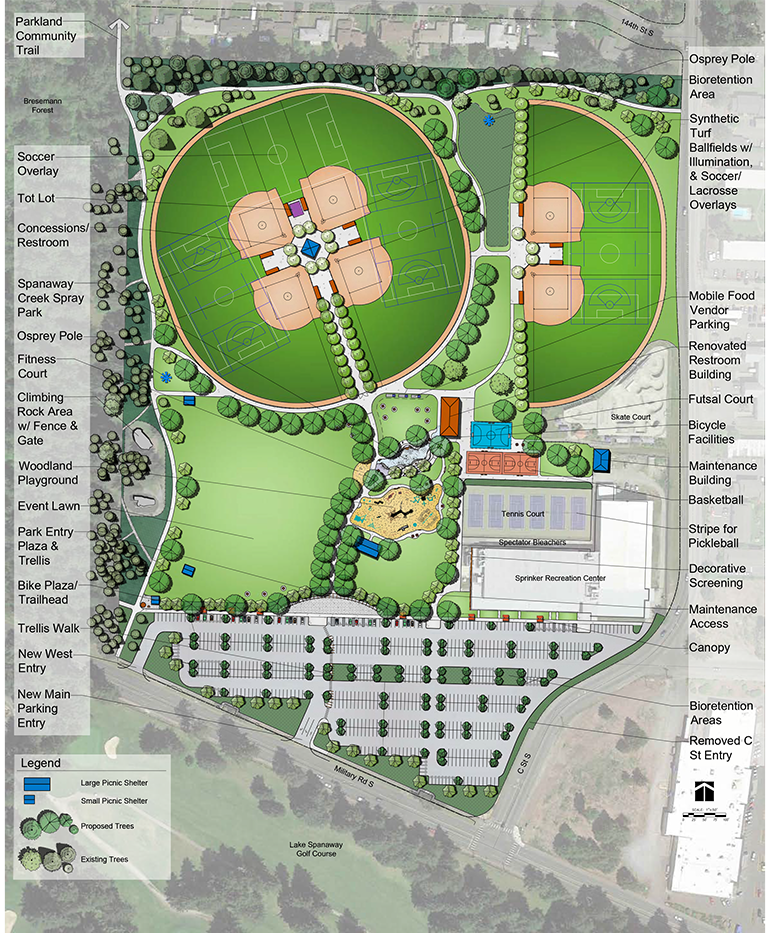 rednering of park from above with new features detailed